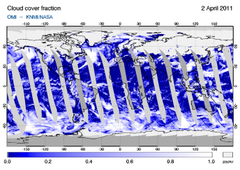 OMI -  Cloud cover fraction of 02 April 2011