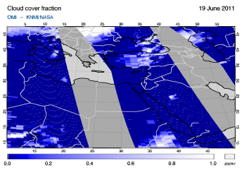 OMI -  Cloud cover fraction of 19 June 2011