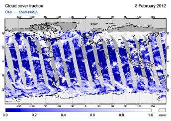 OMI -  Cloud cover fraction of 03 February 2012