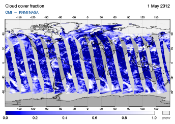 OMI -  Cloud cover fraction of 01 May 2012