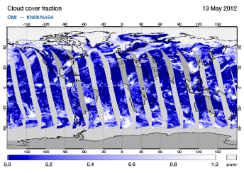 OMI -  Cloud cover fraction of 13 May 2012