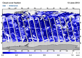 OMI -  Cloud cover fraction of 13 June 2013