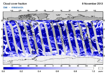 OMI -  Cloud cover fraction of 08 November 2013