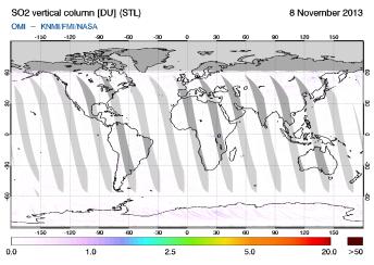OMI - SO2 vertical column of 08 November 2013
