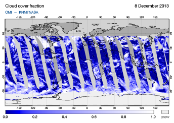 OMI -  Cloud cover fraction of 08 December 2013