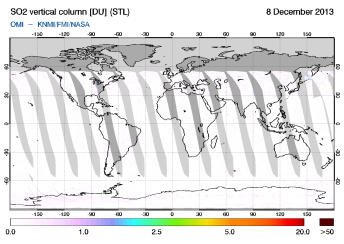 OMI - SO2 vertical column of 08 December 2013