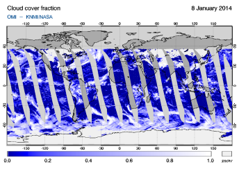 OMI -  Cloud cover fraction of 08 January 2014