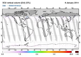 OMI - SO2 vertical column of 08 January 2014