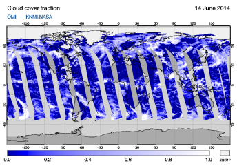 OMI - Cloud cover fraction of 14 June 2014
