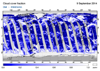 OMI - Cloud cover fraction of 09 September 2014