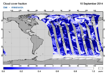 OMI - Cloud cover fraction of 10 September 2014