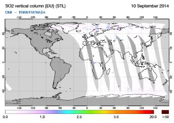 OMI - SO2 vertical column of 10 September 2014