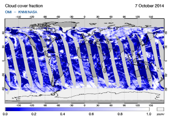 OMI - Cloud cover fraction of 07 October 2014