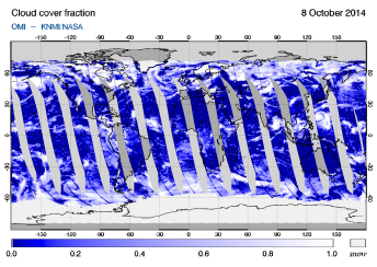 OMI - Cloud cover fraction of 08 October 2014