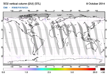 OMI - SO2 vertical column of 08 October 2014