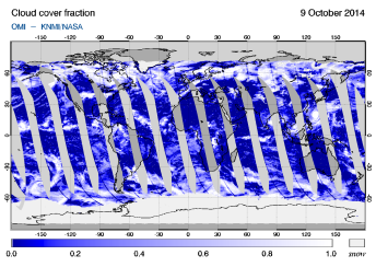 OMI - Cloud cover fraction of 09 October 2014