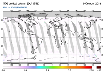 OMI - SO2 vertical column of 09 October 2014