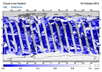 OMI - Cloud cover fraction of 10 October 2014