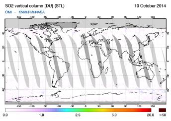 OMI - SO2 vertical column of 10 October 2014