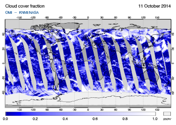 OMI - Cloud cover fraction of 11 October 2014