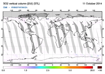 OMI - SO2 vertical column of 11 October 2014