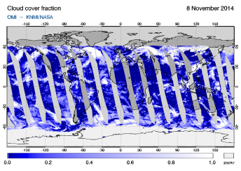 OMI - Cloud cover fraction of 08 November 2014