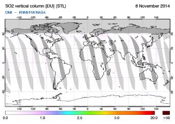 OMI - SO2 vertical column of 08 November 2014