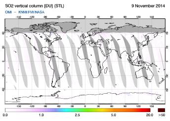 OMI - SO2 vertical column of 09 November 2014