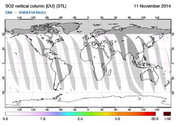 OMI - SO2 vertical column of 11 November 2014