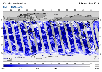 OMI - Cloud cover fraction of 08 December 2014