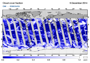 OMI - Cloud cover fraction of 09 December 2014