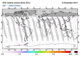 OMI - SO2 vertical column of 09 December 2014