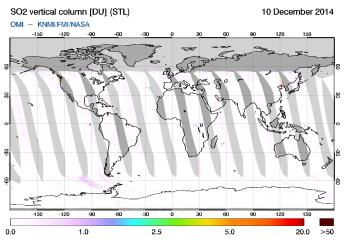 OMI - SO2 vertical column of 10 December 2014