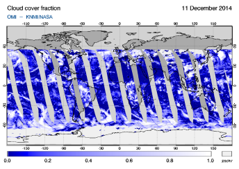 OMI - Cloud cover fraction of 11 December 2014