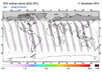 OMI - SO2 vertical column of 11 December 2014