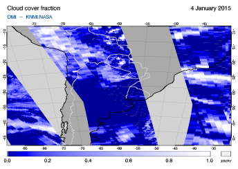 OMI - Cloud cover fraction of 04 January 2015