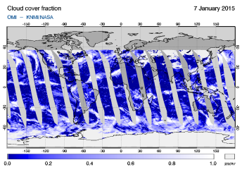 OMI - Cloud cover fraction of 07 January 2015