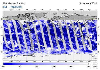 OMI - Cloud cover fraction of 08 January 2015