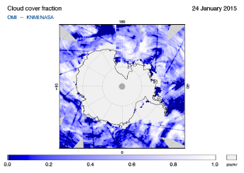 OMI - Cloud cover fraction of 24 January 2015