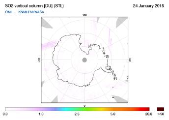 OMI - SO2 vertical column of 24 January 2015
