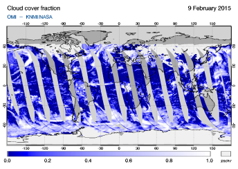 OMI - Cloud cover fraction of 09 February 2015