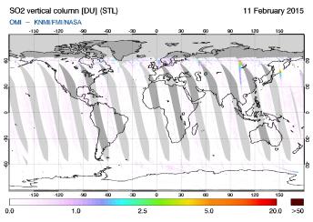 OMI - SO2 vertical column of 11 February 2015