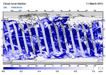 OMI - Cloud cover fraction of 11 March 2015