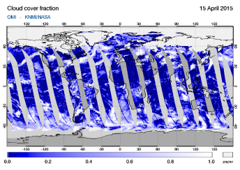 OMI - Cloud cover fraction of 15 April 2015