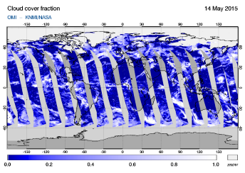 OMI - Cloud cover fraction of 14 May 2015