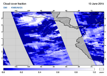 OMI - Cloud cover fraction of 13 June 2015