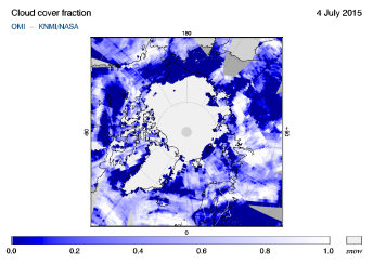 OMI - Cloud cover fraction of 04 July 2015