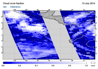 OMI - Cloud cover fraction of 13 July 2015