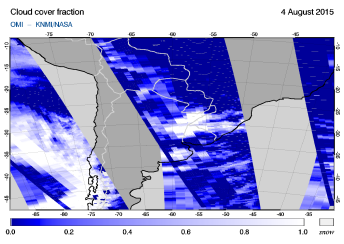 OMI - Cloud cover fraction of 04 August 2015