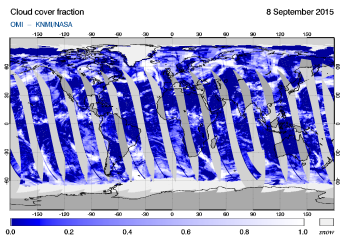 OMI - Cloud cover fraction of 08 September 2015